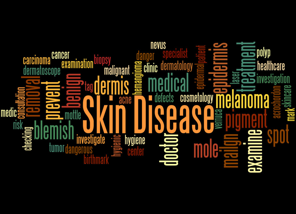 Skin Disease, word cloud concept on black background.