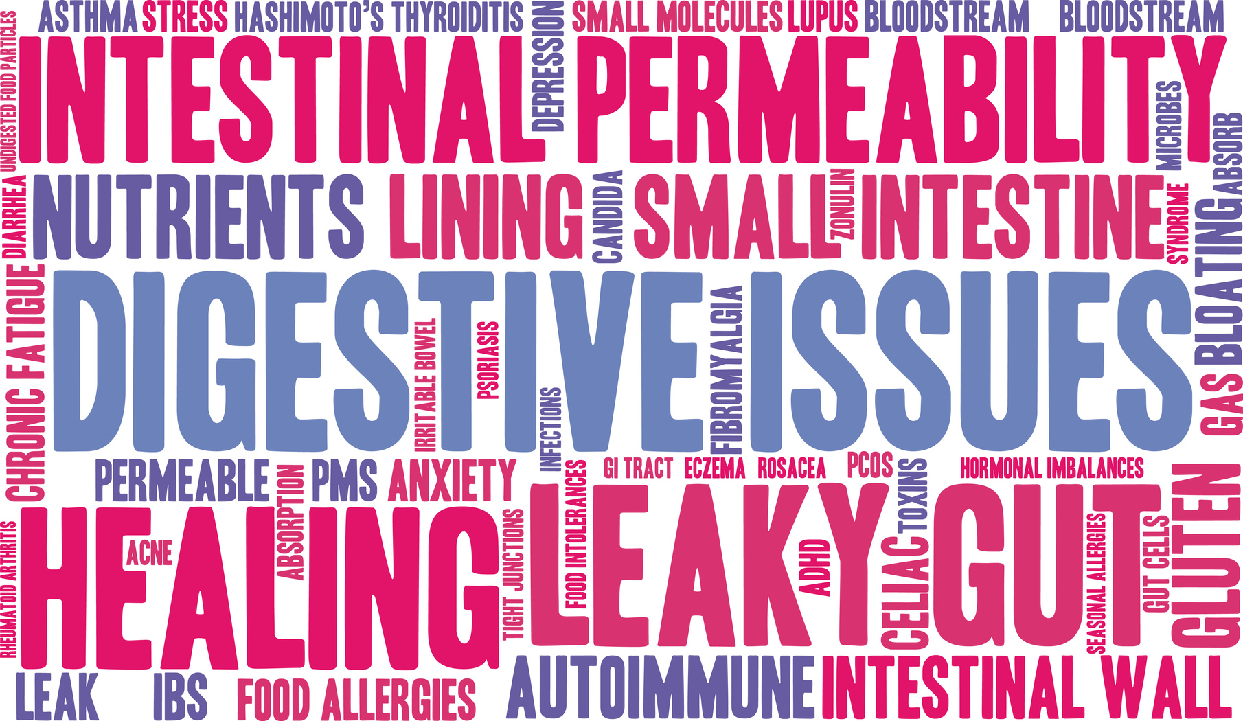 Digestive Issues word cloud on a white background.